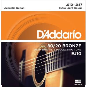 ENC. DADDARIO EXTRA LIGHT 010-047 BRONZE  EJ10 BRONCE.